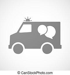 komisch, pictogram, ballons, vrijstaand, ambulance