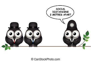 komisch, sociaal, distancing