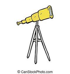 komisch, spotprent, telescoop