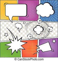 komisch, toespraak, bellen, en, stripverhaal, op, kleurrijke, halftone, achtergrond, vector, illustratie
