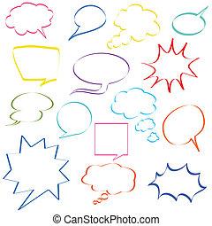 komisch, toespraak, bellen, kleurrijke