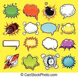 komisch, vector, toespraak, bellen, illustratie