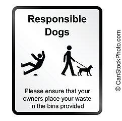 komisch, verantwoordelijk, honden, informatio