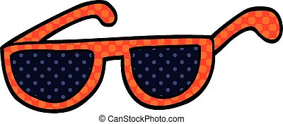 komisches buch, sonnenbrille, stil, karikatur