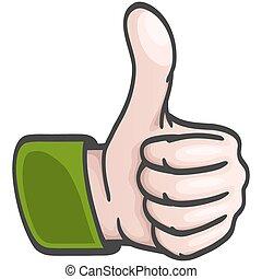 komisk, hånd, -, oppe, tommelfingre