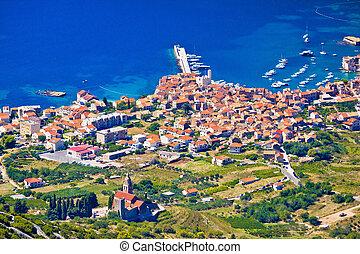 Komiza on Vis island aerial view