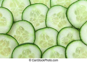 komkommer, achtergrond, schijfen