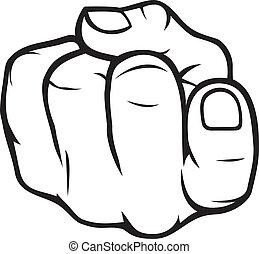 komma här, gest, finger