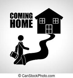 komme til hjem