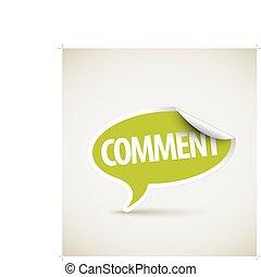 kommentar, bubbla, -, anförande, vit, gräns, pekare
