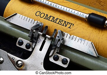 kommentar, text, på, skrivmaskin