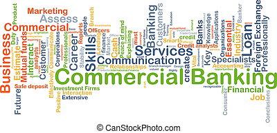 kommersiell, bankrörelse, bakgrund, begrepp