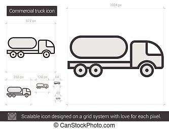 kommersiell, fodra, lastbil, icon.