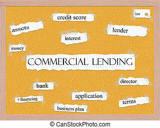 kommersiell, lånande, begrepp, corkboard, ord