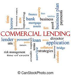 kommersiell, lånande, begrepp, ord, moln