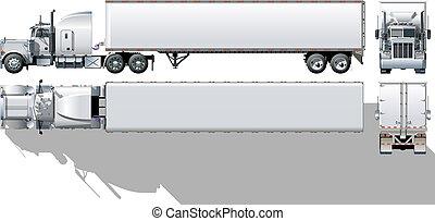 kommersiell, semi-truck