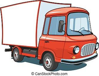 kommersiell, tecknad film, röd transportera