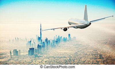 kommerzielles flugzeug, rüber fliegen, modern, stadt