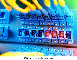 kommunikáció, és, internet, hálózat server, szoba