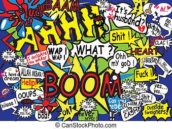kommunikáció, buborék, komikus,