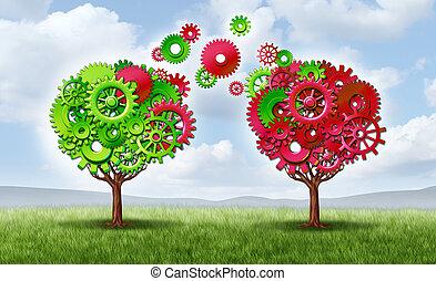 kommunikáció, cserél, társas viszony