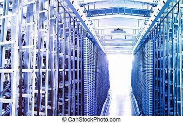 kommunikáció, internet, szoba, hálózat server