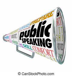 kommunikáció, tanács, gondolat, bullhorn, hangszóró,...