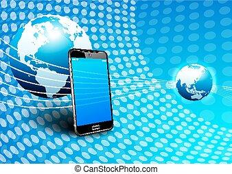 kommunikáció, telefon, globális, digitális