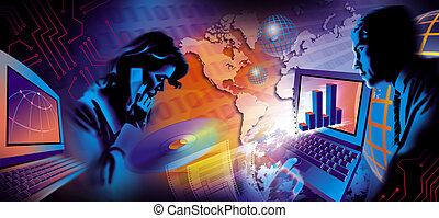 kommunikation, affärsverksamhet illustration