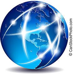 kommunikation, amerika, -, värld