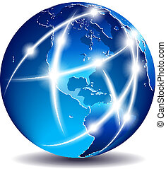 kommunikation, amerika, -, verden