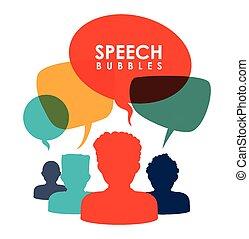 kommunikation, anförande, bubblar