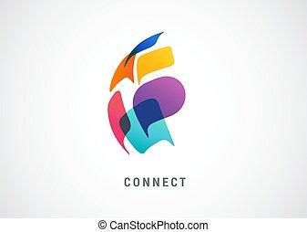 kommunikation, begreb, forbinde, folk, logo, tale, farverig, verden, netværk, bobler, abstrakt formgiv
