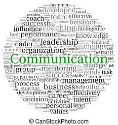kommunikation, begrepp, in, ord, etikett, moln