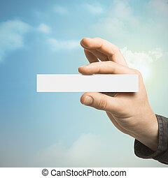 kommunikation, begriff, hand holding, a, geschäftskarte
