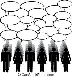 kommunikation, begriff, leute, chating