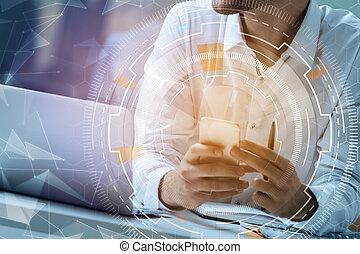 kommunikation, begriff, technologie