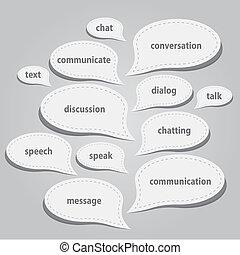 kommunikation, blasen