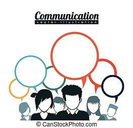 kommunikation, bobler, tale