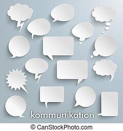kommunikation, bolhas, papel, fala, jogo