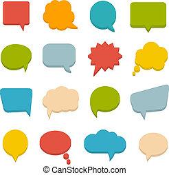 kommunikation, bubblar, färgad