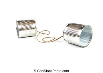 kommunikation, concept:, konservburk kan telefonera