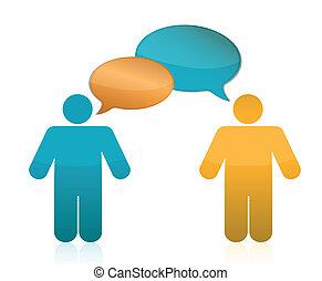 kommunikation, concept., partnerschaft