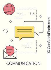 kommunikation, concept., plaudern, in, der, beweglich, app.