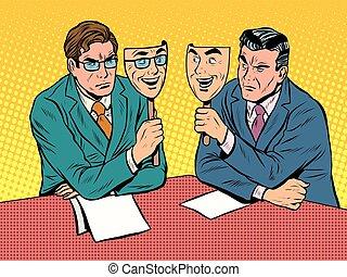 kommunikation, dialog, disingenuous, affär
