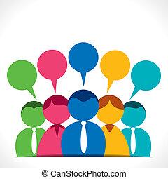 kommunikation, diskussion, eller, folk