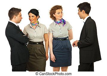 kommunikation, folk affär