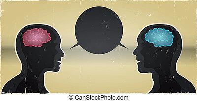 kommunikation, frau, grunge, hintergrund, mann