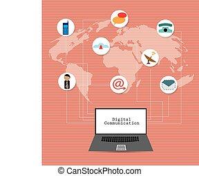 kommunikation, gesamt-netzwerk, concep