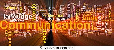 kommunikation, glühen, begriff, hintergrund